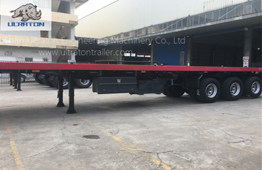 3 Axles 55T Flatbed Container Transport Semi Truck Trailer